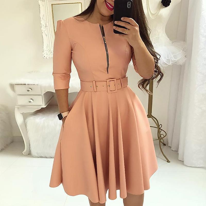 Fashion- Fall Half Sleeve Elegant Tunic Party Dress Female O Neck Solid Zipper Belted Pleated Casual Office Dress Vestidos Mujer Y190426