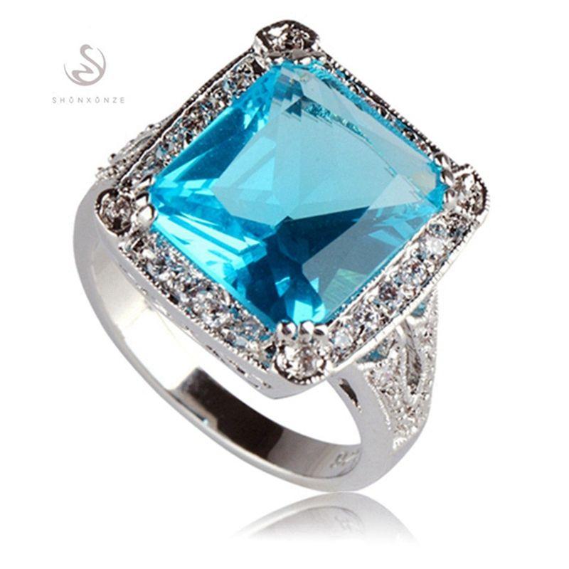SHUNXUNZE Best Sellers, Verlobung, Hochzeit Ringe für Männer und Frauen Kleidung Accessoires Blau Zirkonia Zubehör Rhodium überzogen R751