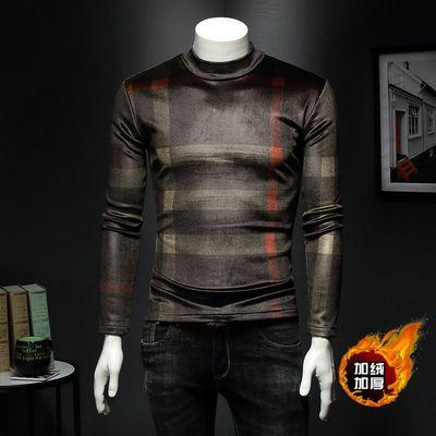 2019 Новая мужская осенью и зима плюс бархатная толстая футболка с длинными рукавами мужская корейская версия мужской теплой моды мужская рубашка