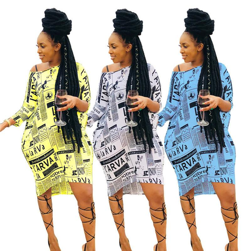 Газетный принт Женское платье с длинным рукавом с открытыми плечами Винтажный дизайнер Юбка-платье Юбка Bodycon Свободные наряды2019