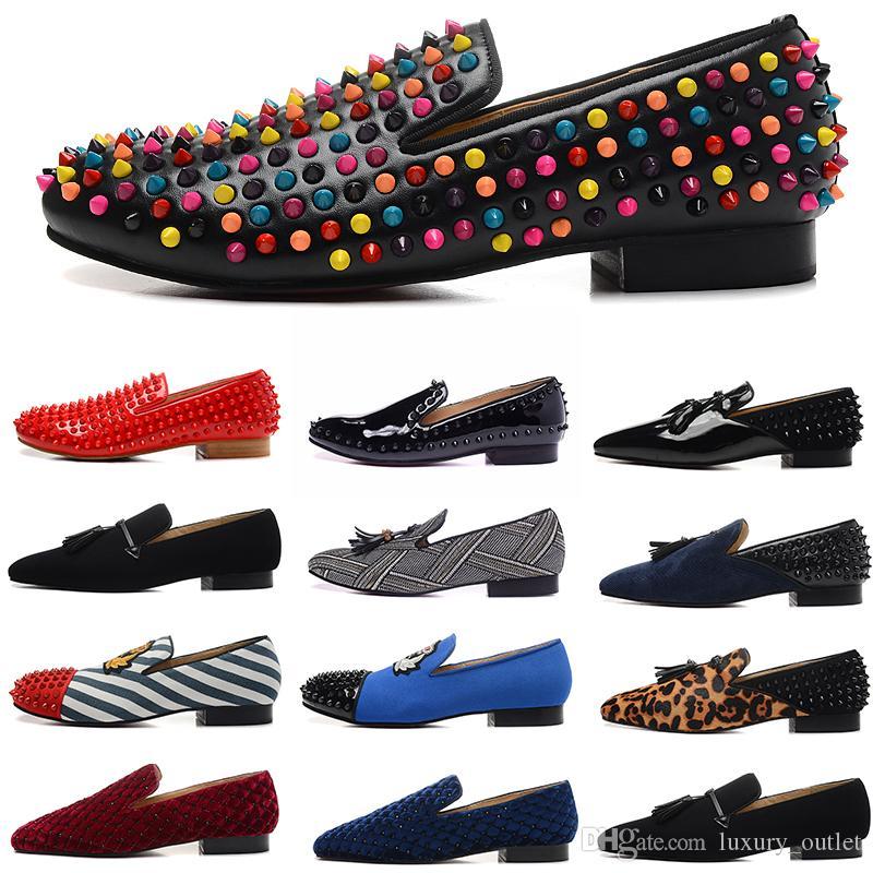 di design di lusso scarpe di vestito di cuoio da uomo picchi di rosso fondi appartamenti camoscio mocassini di tela vino rosso blu Scarpe des chaussures nero pour hommes