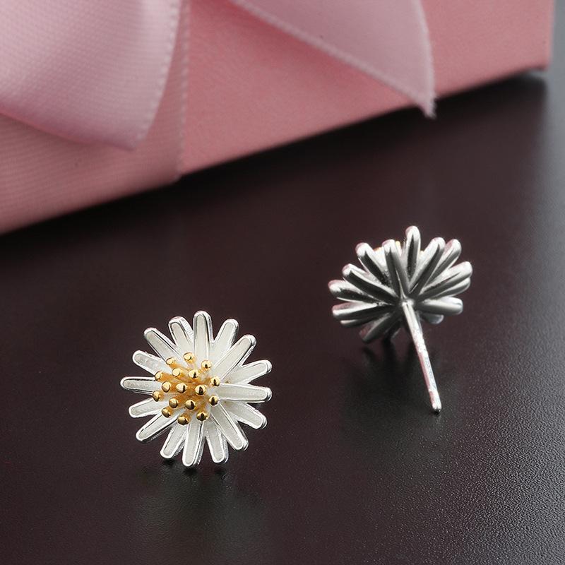 925 de la margarita de plata mujeres pendientes Ins diseño del oído estrella de la joyería de moda Pendientes