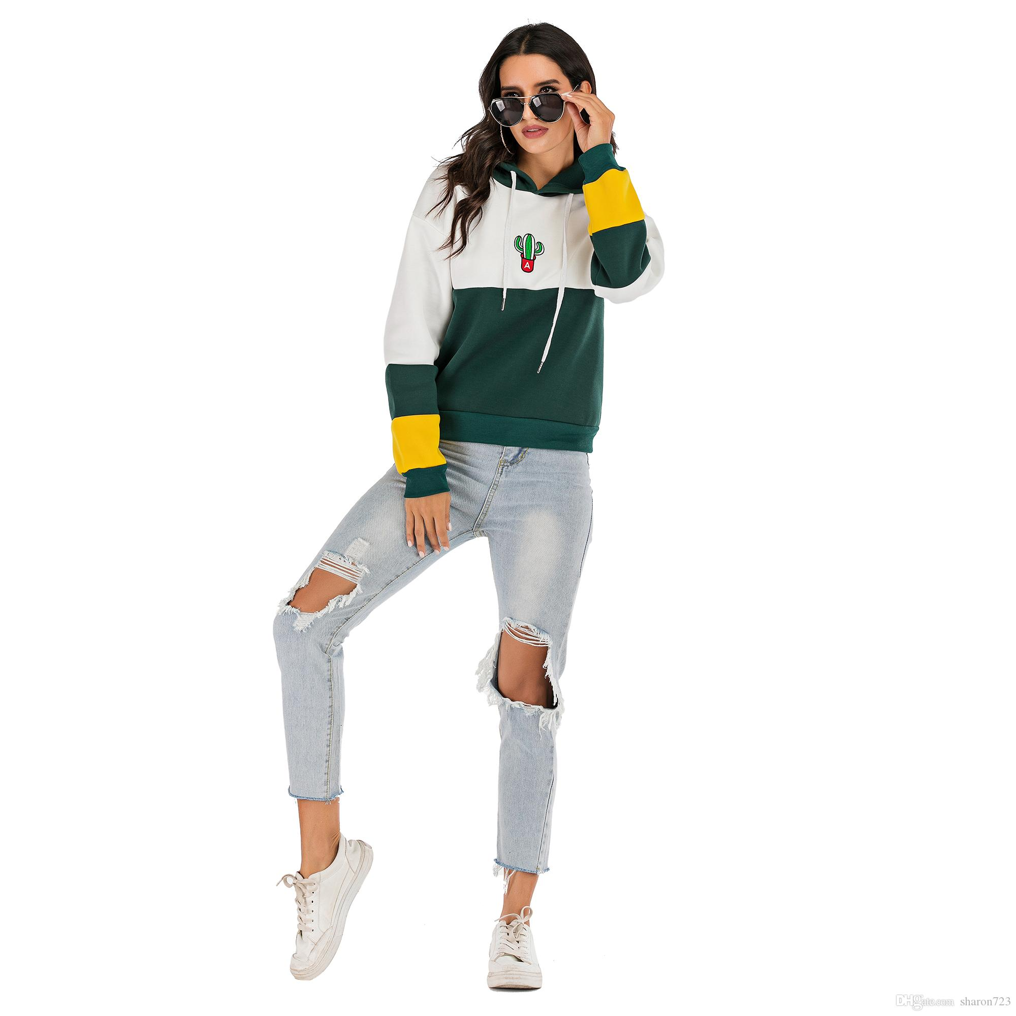 Yellow and green stitching women hoodies students' choice autumn alert sunshine protection spring loveliness tree pattern