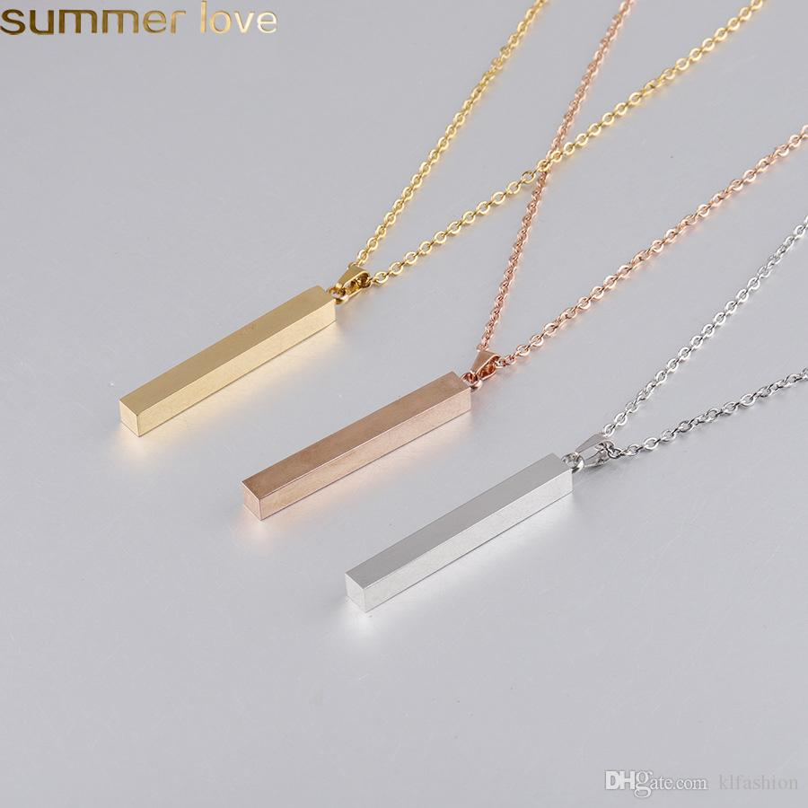 Fashion Stainless Steel Bar Pendant Necklace Gold Rose Gold Silver Solid Blank Bar Charm Pendant For Buyer Own Engraving Personalized