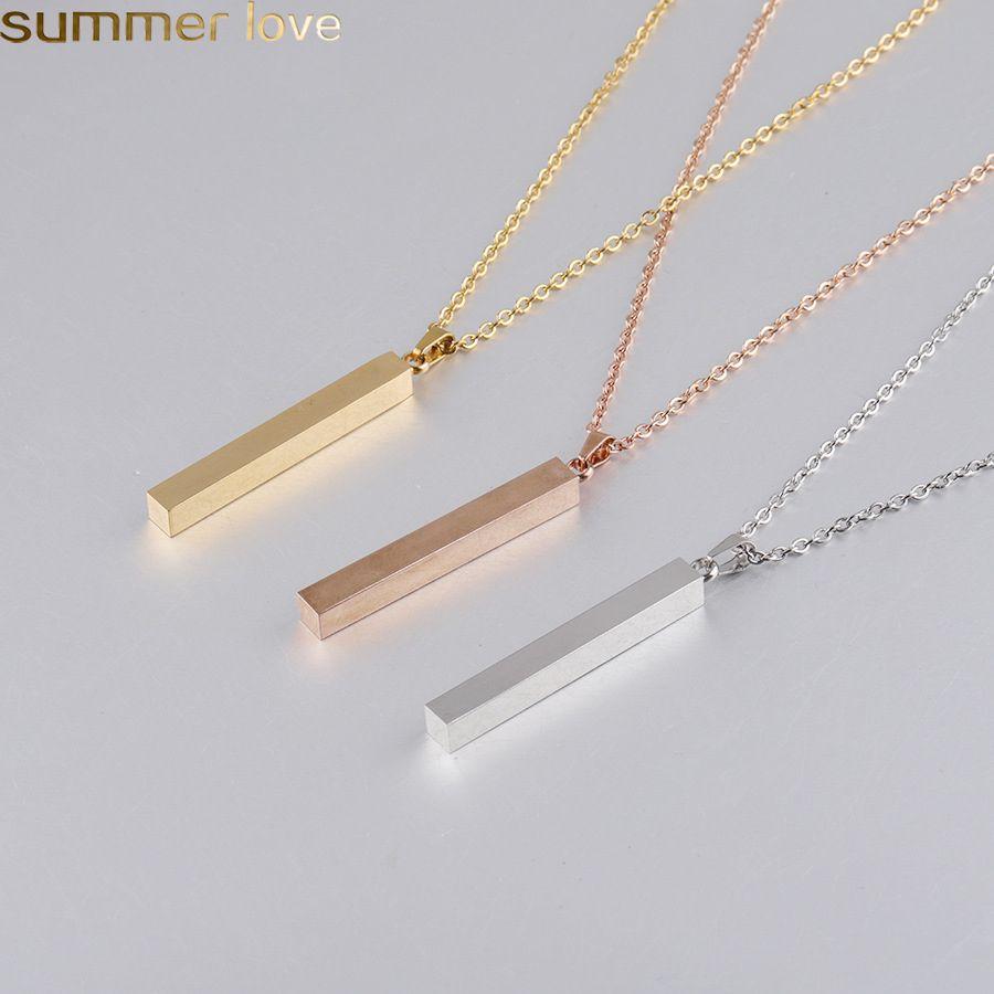 Collar colgante de acero inoxidable de moda Negro oro plata sólido en blanco barra de barra para el comprador Propio grabado personalizado