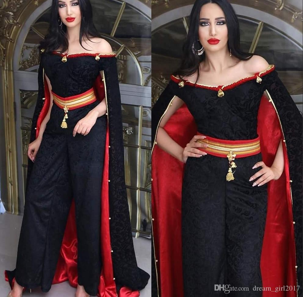 Arabic Black Evening Formal Dresses 2020 Evening Gowns Jumpsuits Dress Evening Wear Middle East Dubai Abaya Kaftan Kleider robes de soirée
