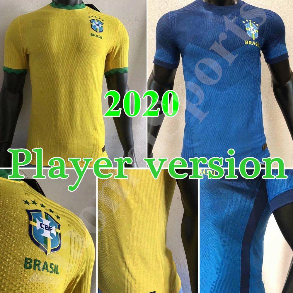 Jogador versão 2020 Brasil Copa América Home away Yellow Soccer Jersey 20 21 # 11 P. camisa de futebol COUTINHO # 12 uniformes de futebol MARCELO