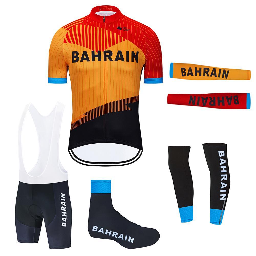 ضبط الدراجات جيرسي 2020 برو فريق البحرين ملابس ركوب الدراجات ملابس Ciclismo الصيف تنفس دراجة جيرسي armwarmer الساق دفئا مريلة السراويل عدة