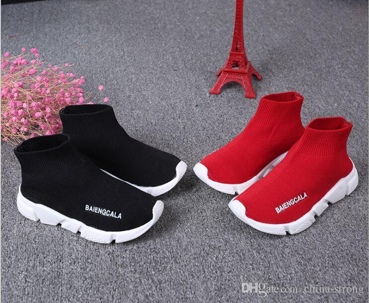 브랜드 디자이너 키즈 스포츠 부츠 울 니트 통기성 육상 소년 소녀 실행 신발 아기 운동화 새로운 양말 신발