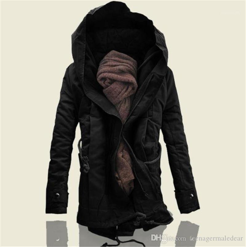 Giyim Kış Artı boyutu Uzun Mens Coats Tasarımcı Katı Renk Uzun Kol Kapşonlu Erkek Outerwears Moda Pamuk Gevşek Erkek