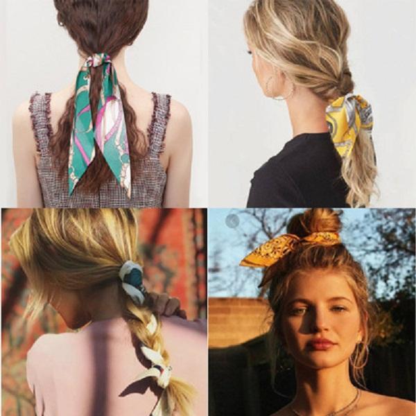 Retro seda impresa de pelo Anillos con estilo de la personalidad del patrón Señora Accesorios ALACIADOR bandas del pelo para las mujeres del partido
