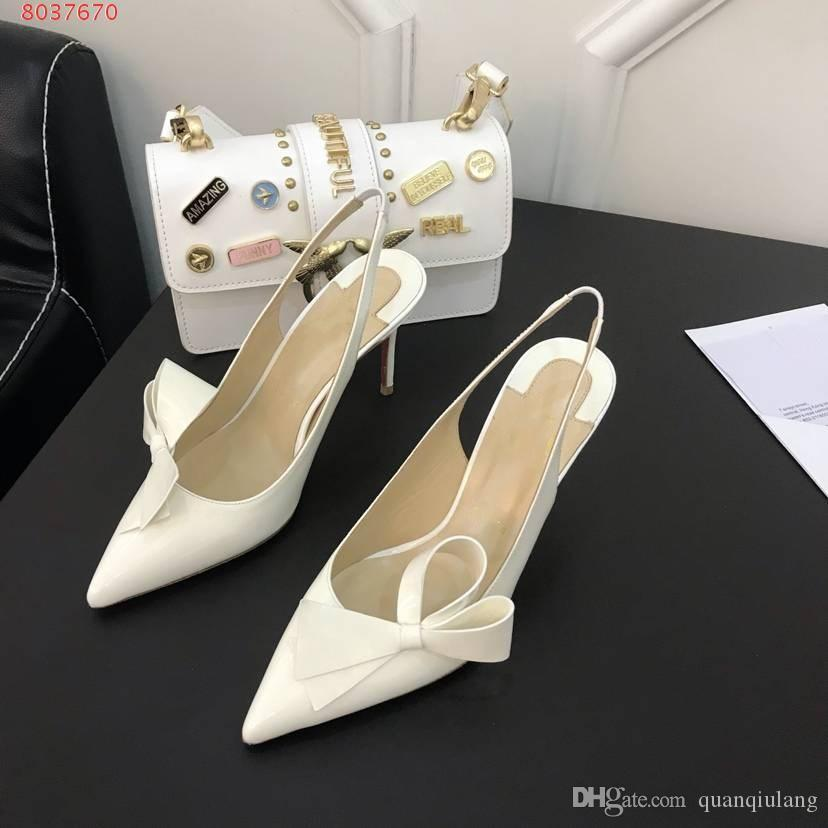 On Sale Luxury chic couture bow elegant Pumps Ladies Pointed Toes Designer Slingbacks Women Patent leather Sandals White Black Banquet Shoe