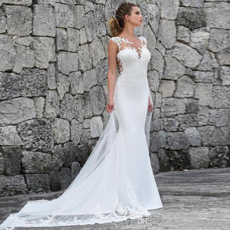 2019 Vestidos de novia de encaje vintage Sheer Cuello Apliques Tul blanco Marfil barrido Tren Playa Jardín Vestidos de novia Vestios De Novia