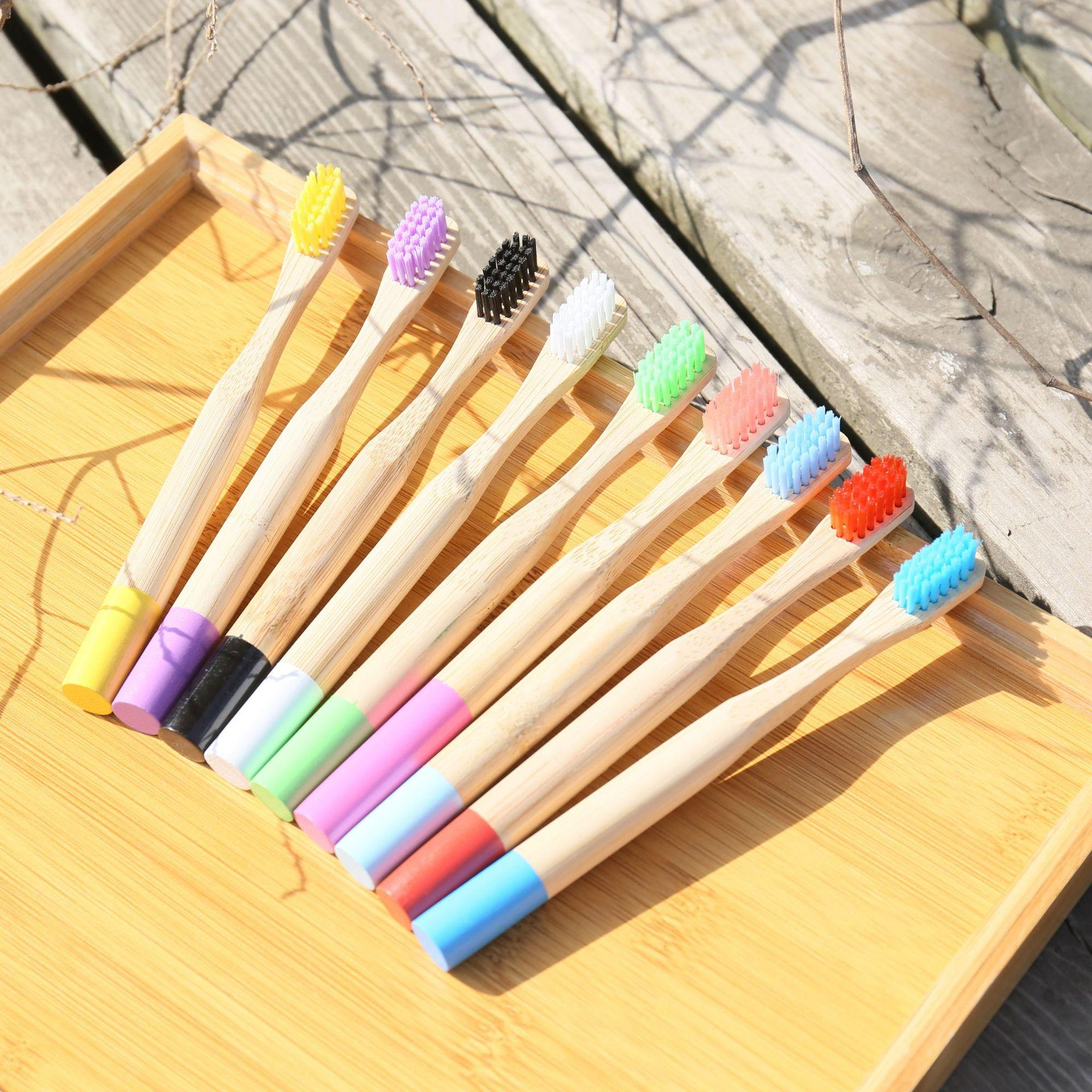 Children Bamboo Toothbrush Round Handle Toothbrushes Natural Bamboo Tube Brush With Box Packing Travel Oral Hygiene Hotel Supplies GGA2475