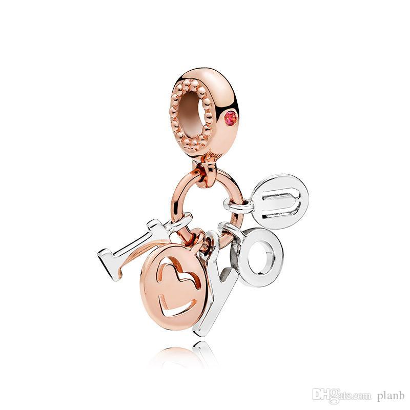 Authentic 925 Sterling Silver Lettres Lettres Pendentif Charms Boîte d'origine pour Pandora Rose Gold Charms Beads pour accessoires de bijoux