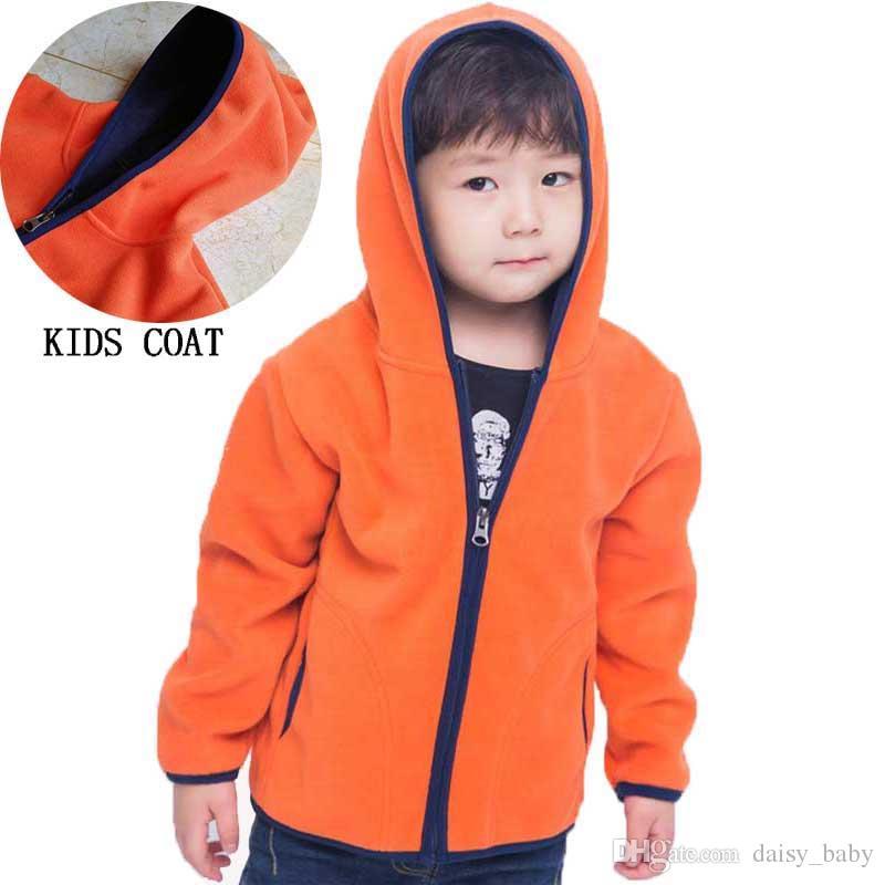 Kids Winter Fleece Jacket Long Sleeve Coat with Hood Lightweight Hoodie Outerwear for Boys Girls