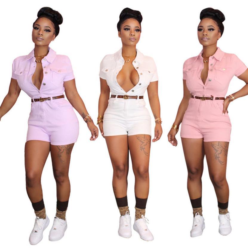 Plus-Größe 2XL Sommer-Frauen kurze Ärmel Shorts Jumpsuits arbeiten dünne Knöpfe Bodysuits trendy Strampler beiläufige Normallack Gesamten 2785