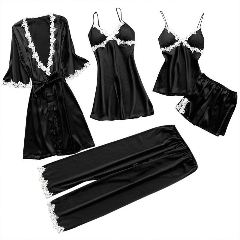 여성 잠옷 5PCS 공단 잠옷 세트 Pijama 실크 홈 착용 자수 수면 라운지 파자마와 가슴 패드 파자마 팜므