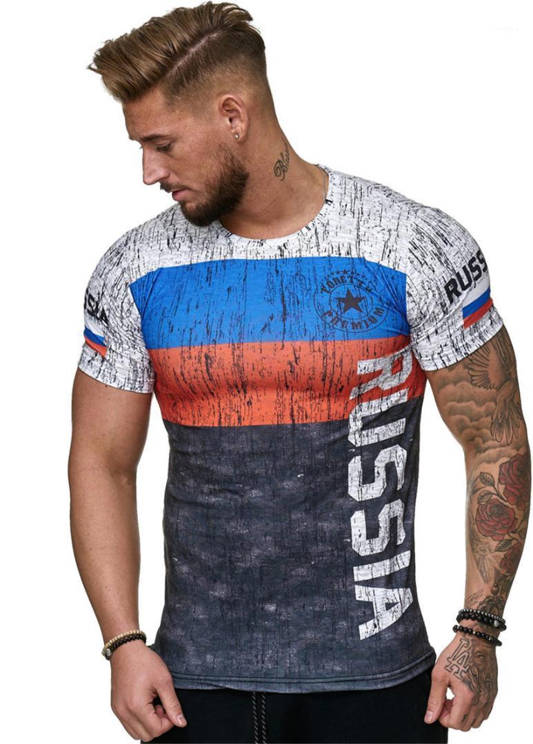 T-shirts Drapeau russe Les hommes occasionnels T-shirt col rond lumière froide des hommes Hauts d'été à manches courtes Slim Homme