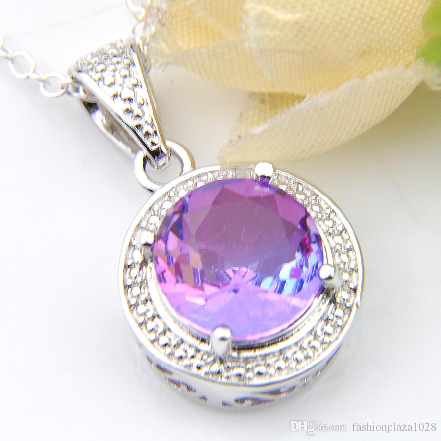 Luckyshine Fashion Pendant Bi colored Tourmaline Gems Vintage 925 Silver Women Pendant Necklace 10*10 mm With Chain Free shipping