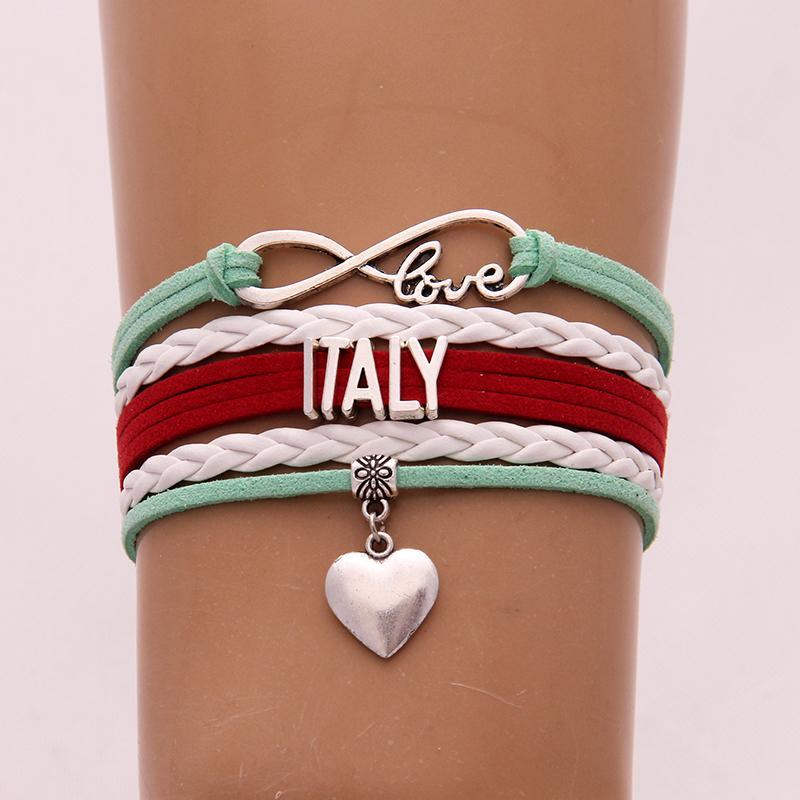 Infinity Love Italy-Armband-Armbänder Herz-Charme flicht PU-Leder-Armband Schön Schmuck für Frauen-Mann-Tropfen-Verschiffen