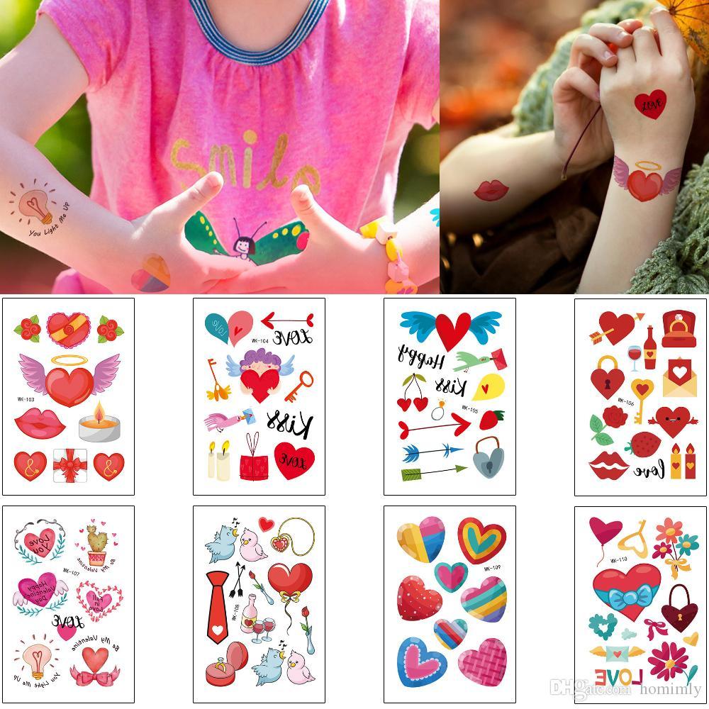 Cartoon tatuaggio temporaneo Red mostrare il vostro amore Cupid del cuore amante Confessione San Valentino disegno scherza il regalo Donna Uomo Body Art Tattoo Stickers
