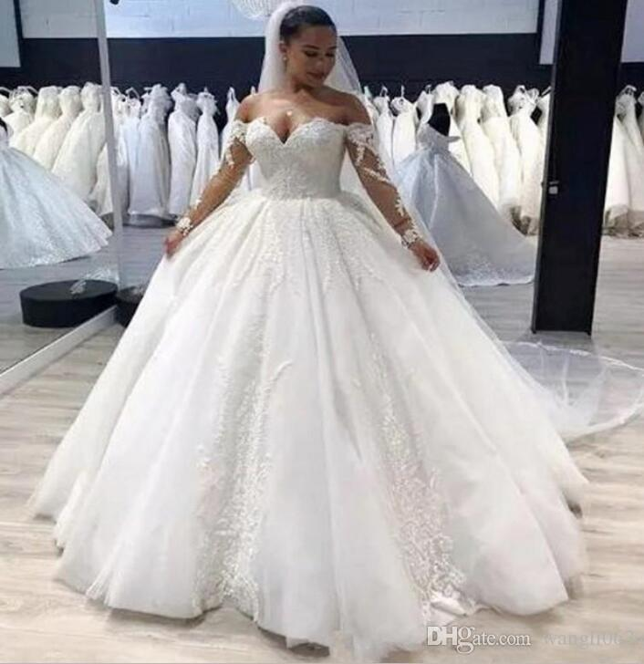 Plus Size Ball Gown Wedding Dress Vintage Lace Appliques Off Shoulder Long  Sleeves Wedding Gowns 2019 Zipper Back Country Bridal Gowns Islamic Wedding  ...