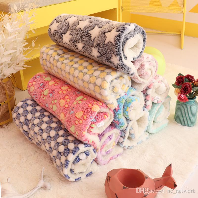 Dog Blanket Dog Bed Mats Soft Coral Fleece Paw Foot Print Warm Sleeping Beds Cover Mat pet dog accessories Free shipping