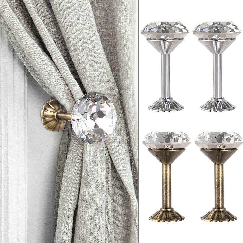 Cortina Rhinestone nuevo y brillante Gancho Abrazadera de montaje en pared que cuelga del dormitorio del hogar DIY Decoración de aleación de zinc exquisito diamante temático