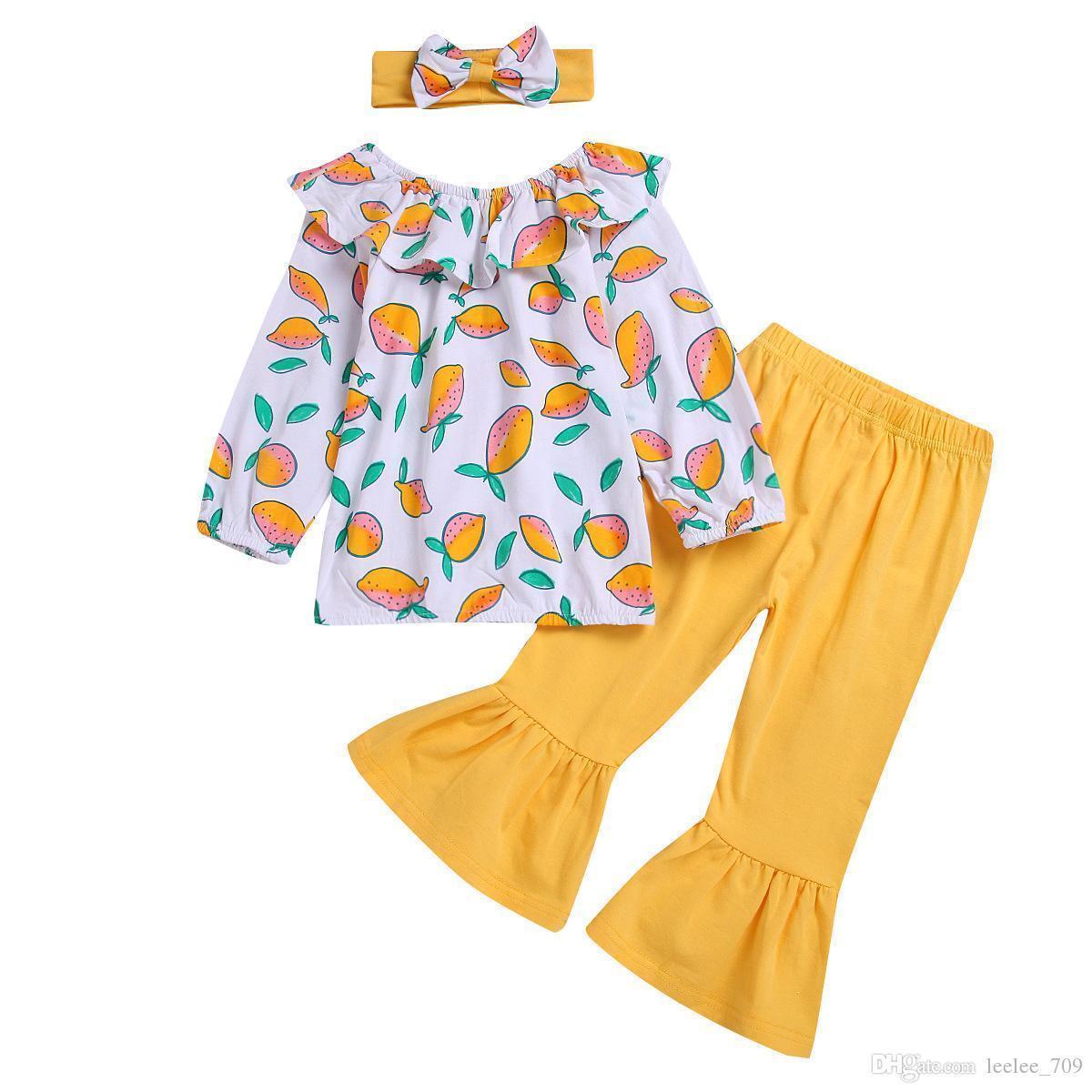 Лимон девочка одежда малыш девушка одежда 3шт девушки наряды топы оголовье расклешенные брюки детские костюмы детские наборы Детская одежда A2948