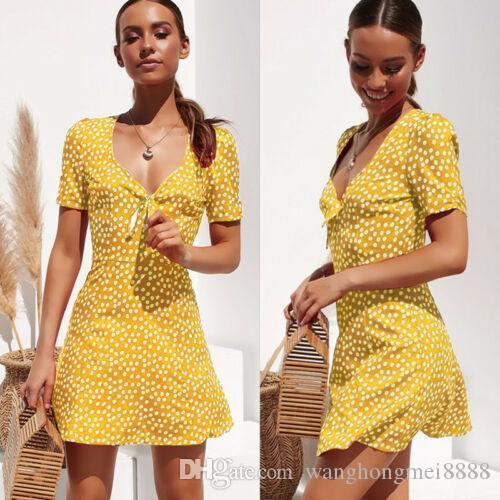 트렌디 여성 드레스 깊은 V 넥 여름 짧은 소매 기하학 저녁 해변 폴 리 에스테 르 미니 드레스 한 조각