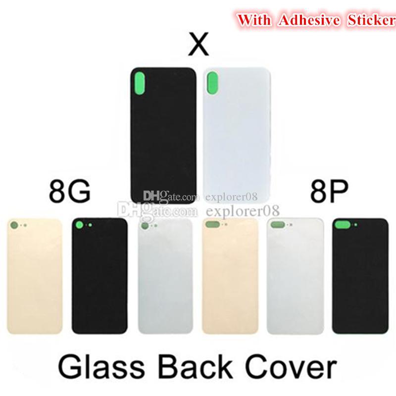 300PCS OEM für iPhone 8G 8 Plus X Rückseiten-Batterie-Glasdeckel Tür Rückseite Gehäuse mit anhaftenden Aufklebern Ersatzteile DHL