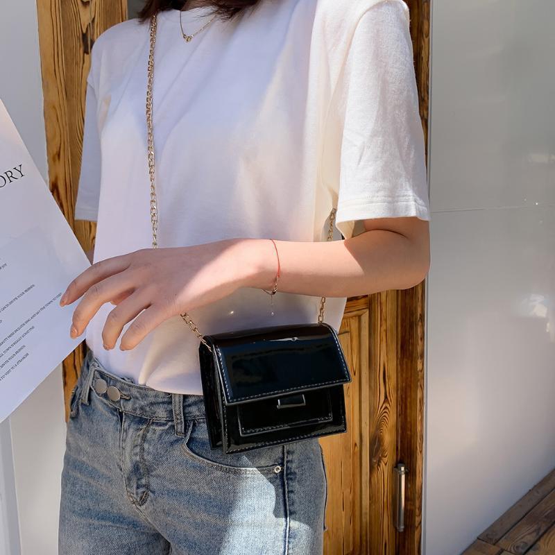 Color sólido de las mujeres de la PU de cuero bolso femenino ocasional cadena cuadrada pequeña manera de los bolsos de las mujeres bolso de cuero