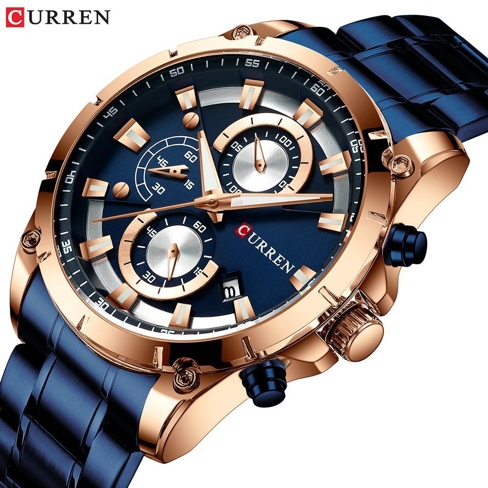 Paslanmaz Çelik Chronograph Spor İzle Erkek Saat Relojes ile CURREN Yaratıcı Tasarım Saatler Erkekler Lüks Kuvars saatler