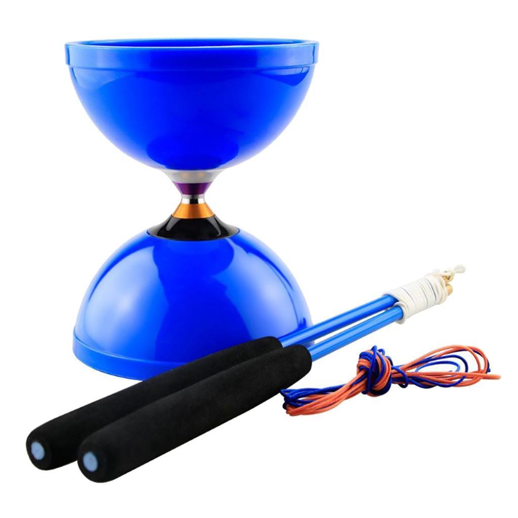 Cinese Yoyo Diabolo giocattolo con Triple cuscinetto e Two Handsticks veloce velocità e lunga inattività stabile Tempo e durevole Medium Size Blu