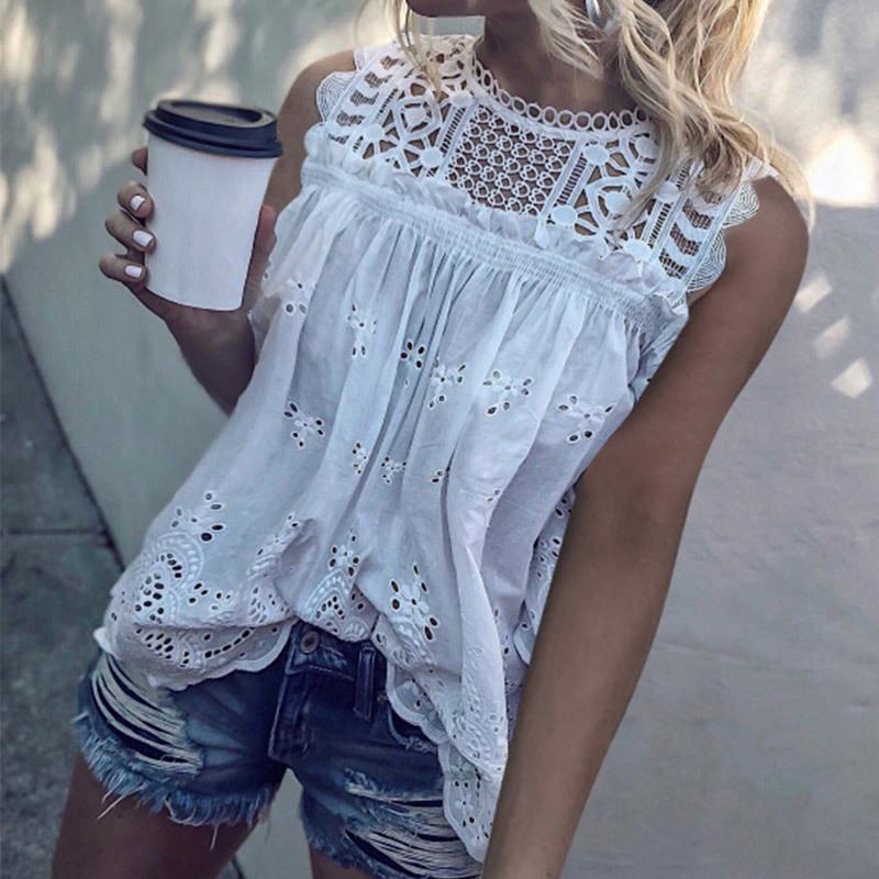 Beyaz Dantel Hollow Out Pamuk Kadın Bluzlar Tunik Kolsuz O-Boyun Seksi Kadın 2020 Yaz Moda Bayan Bluz Y200422 Tops