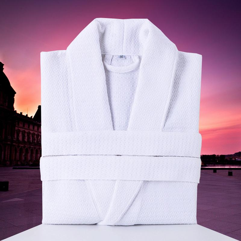 100% Cotton Waffle Men Bathrobe Summer White Plus Size XL Bath Robe Mens Waffle Robes for Women Long Dressing Gown Sleepwear
