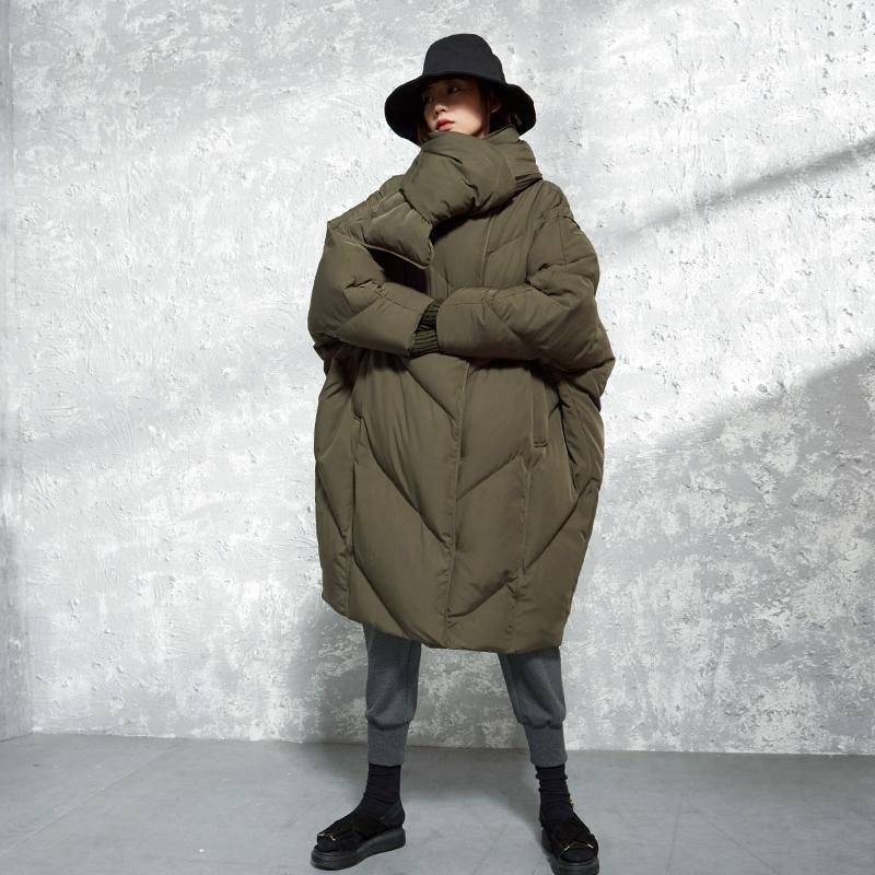 2018 Kış Koleksiyonu ile yeni arrrivals eşarp batwing kollu boy uzun kış ceket beyaz ördek aşağı ceket kadın