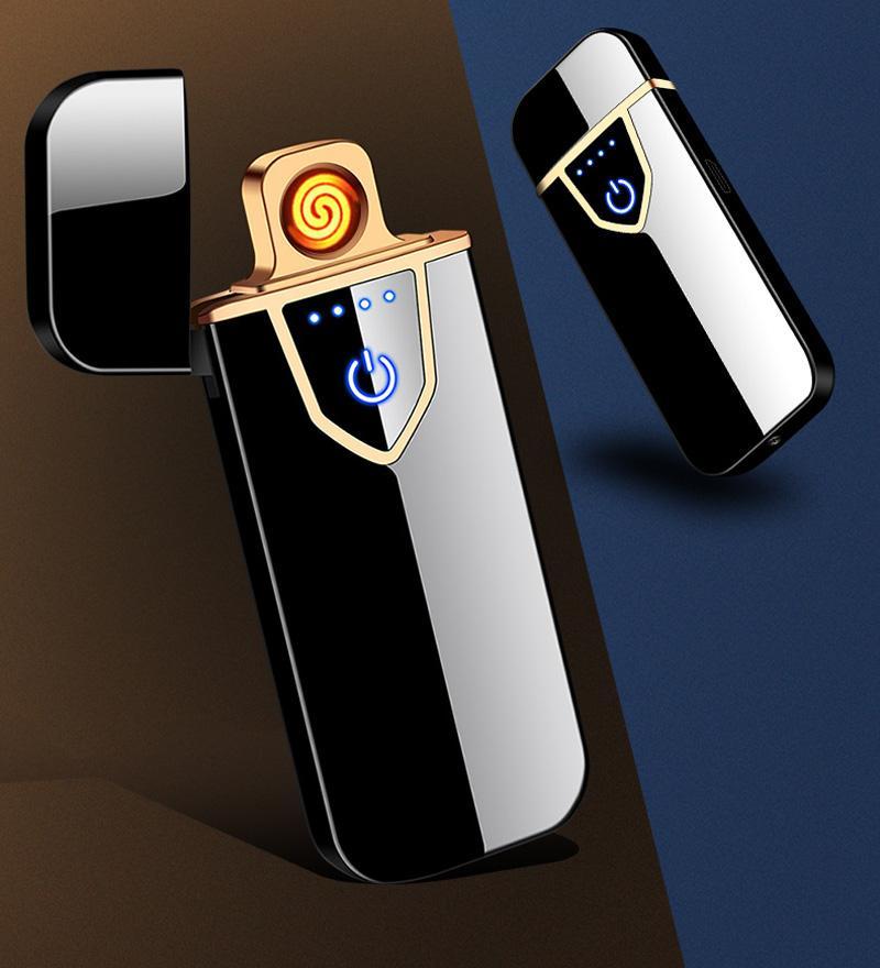 터치 감지 더 가벼운 USB 금속 충전식 히터 windproof flameless 전기 라이터 듀얼 아크 전자 플라즈마 시가 Lightr