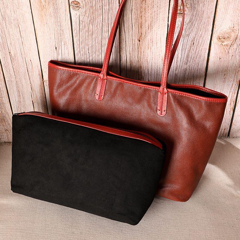 2 en 1 Femmes Sac fourre-tout en cuir véritable simple sac à main en cuir de vache grande capacité Mode Femme Sac à bandoulière Sac Casual Composite