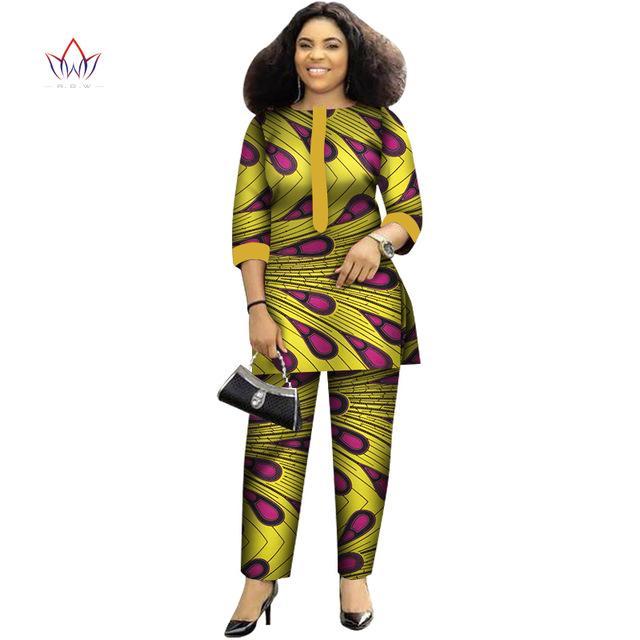 2019 осень Африканский костюм для женщин печати Wax Plus Размер 2 Кусок сверху и Pant наборы Мода женщин Африканский Одежда WY4143