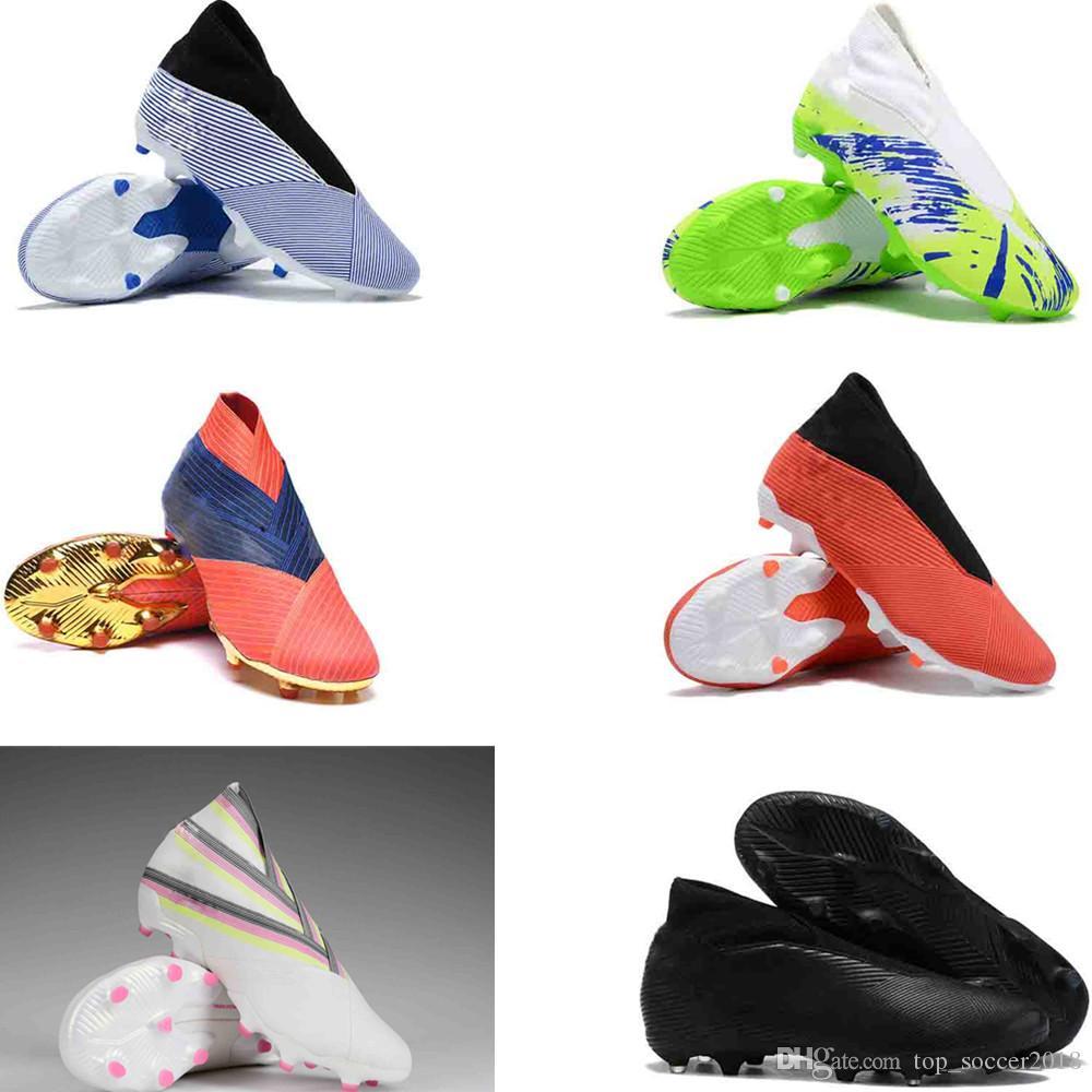 Black Nemeziz 19.3 Laceless Soccer Cleats High Quality 100% Original Messi Outdoor Soccer Shoes X 17+ Purechaos FG 39-45 Football Boots