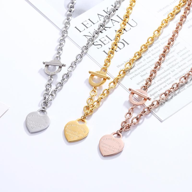 2020 Exquisite Forever Love Heart Pendant Necklace Necklace for women Gold Silver Color Wedding Jewelry