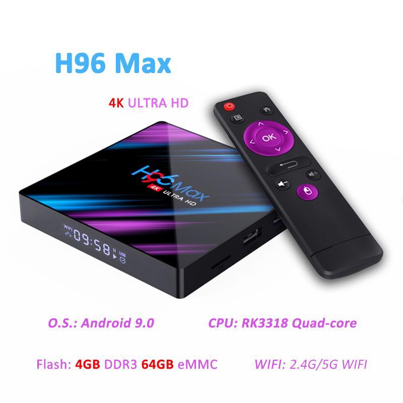 Tv al por mayor caja androide H96 Max Plus RK3318 quad core de alto reproductor de medios 4K con mando a distancia inalámbrico