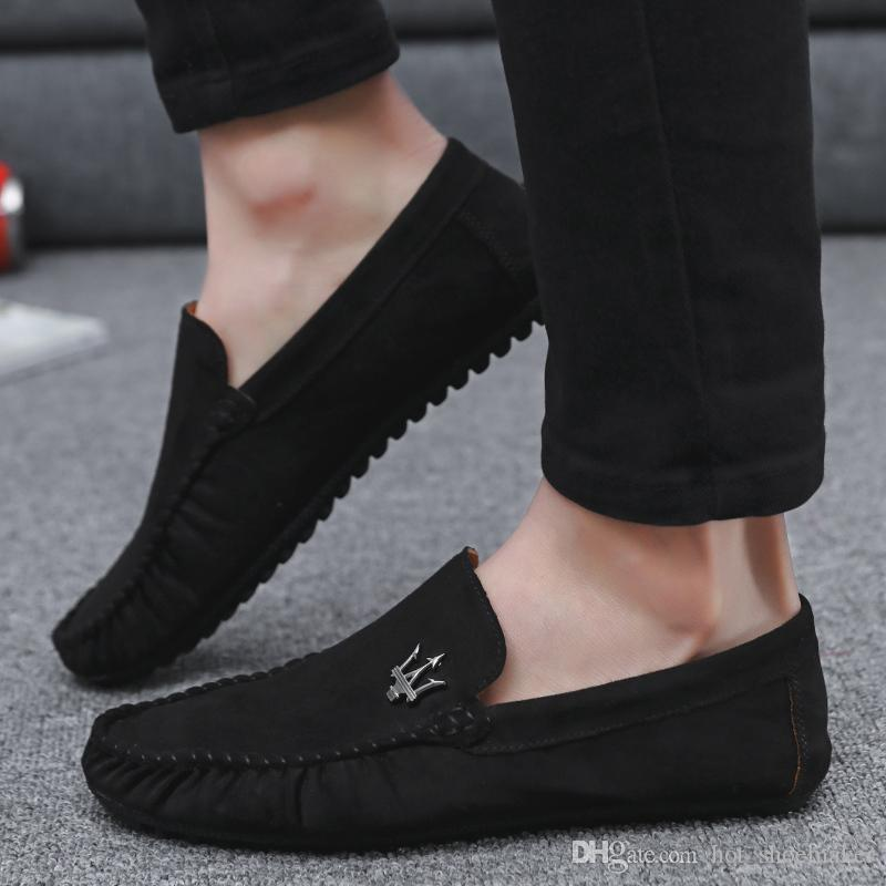 Men Formal Shoes Leather 2018 New Suede Light Bottom Moccasins Men Driving Shoes Chaussures Hommes #165917 Sneakers Shoes Geox Shoes From