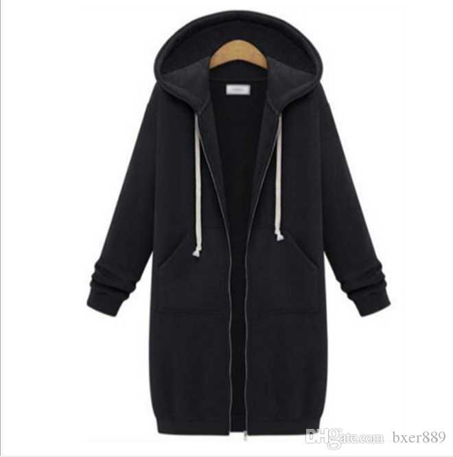 Büyük Boy Sonbahar Kadınlar Casual Uzun Hoodies Kazak Ceket Cepler Yukarı Kabanlar Kapşonlu Ceket Plus Size Tops Zip