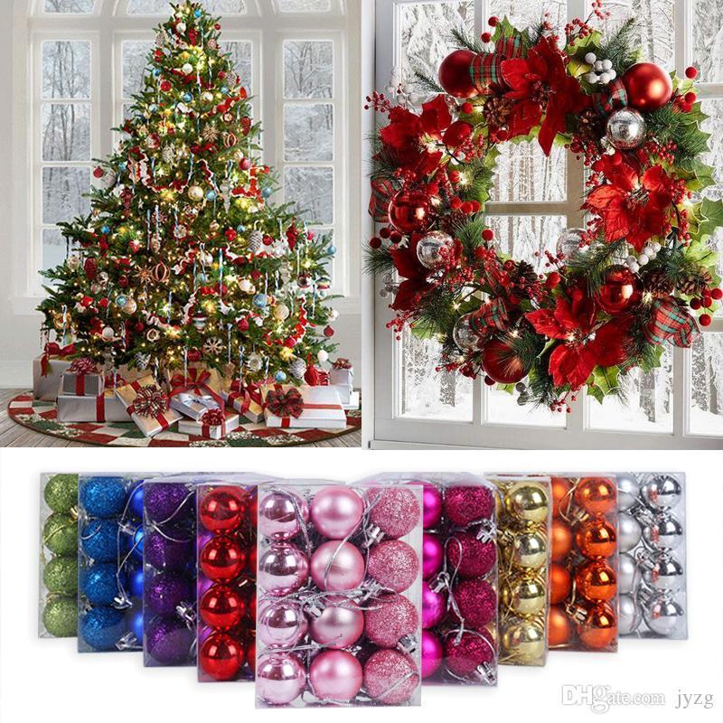24PCS / لوط عيد الميلاد 3cm الكرة بريق شجرة عيد الميلاد الحلي شنقا عيد الميلاد الرئيسية الأوسمة Palline ناتالي ديكور نيفيداد