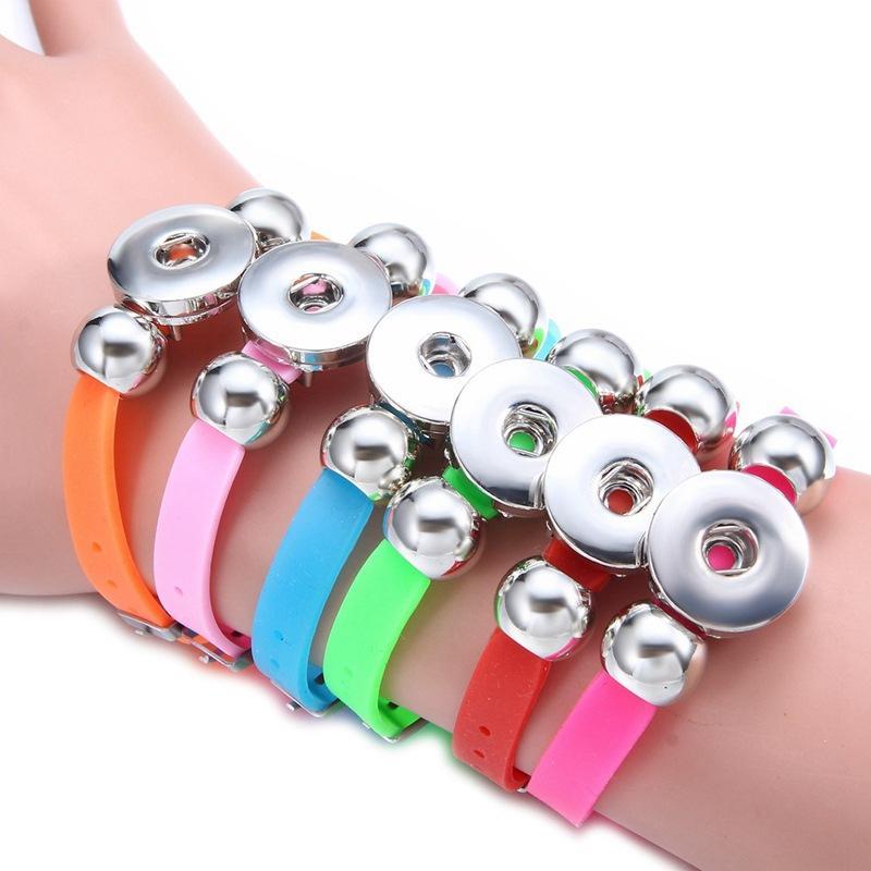 Jóias Pulseiras 18 milímetros Botão Pulseira Noosa snap Pedaços para homens meninas Moda Mulheres Charme pulseiras de silicone Pulseiras Bangles 11 Cores