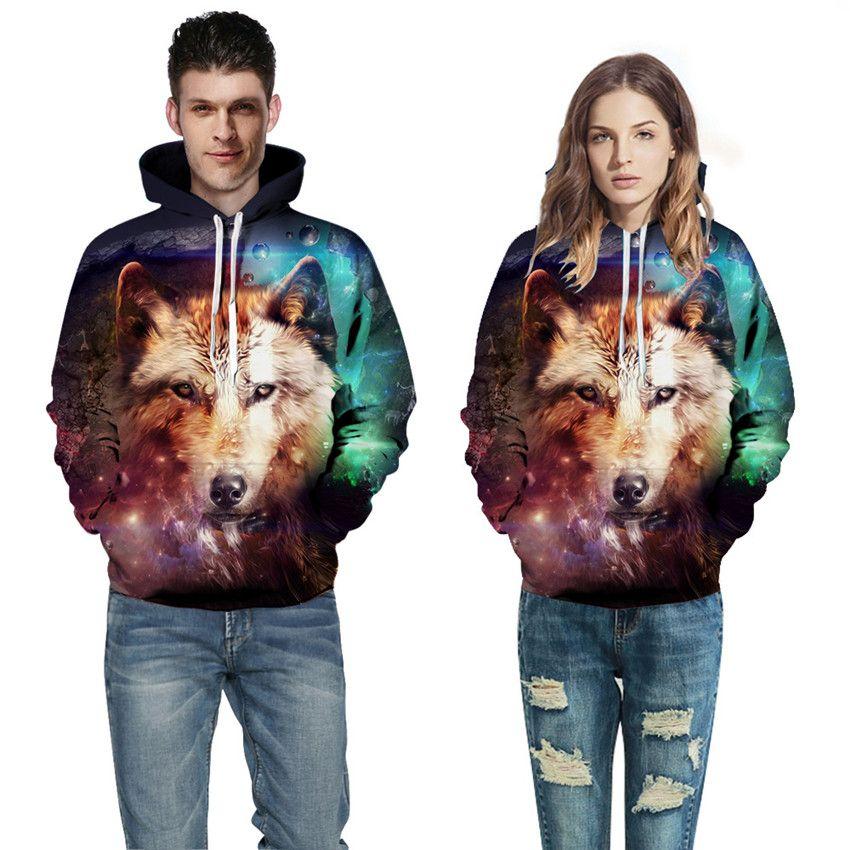 3D Digital Print Animal Wolf Halloween Sweater Women Men Couples Long Sleeve Unisex Hoodie Sweatshirt Pullover Tops Baseball Uniform QL-235