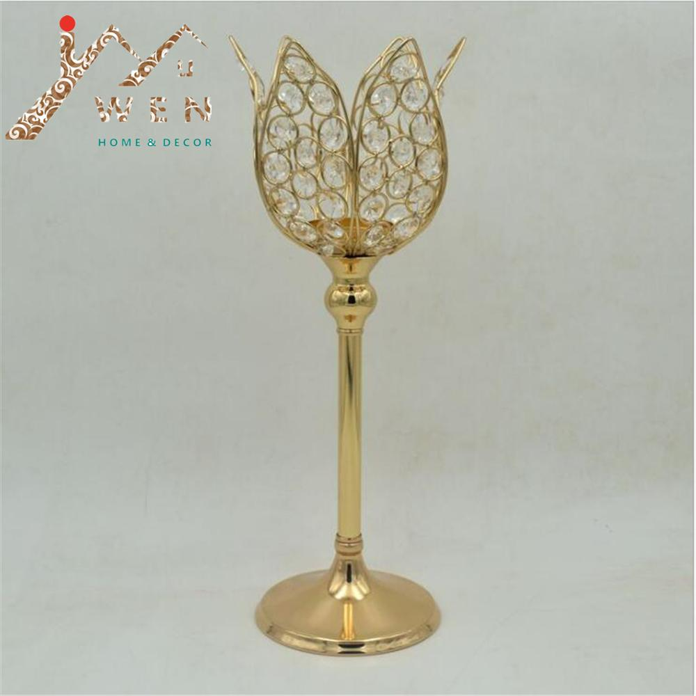 Klasik lotus mumluk altın kaplama nilüfer düğün masa mumluk olay veya parti mum standı ev dekorasyonu 1 lot = 10 adet